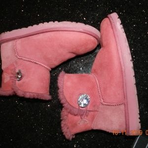 UGG Pink/Rose w/Rhinestone Accents Ankle Boots